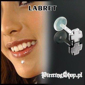 KOLCZYK DO BRODY LABRET(bioplast) KRZYŻ kolor oczka BIAŁY [LA-151]