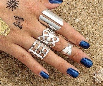 pierścionek GOTHIC SILVER, zestaw 4 szt
