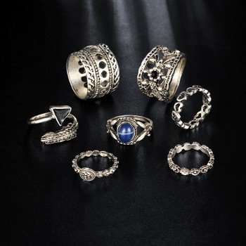 pierścionek GOTHIC SILVER, zestaw 7 szt