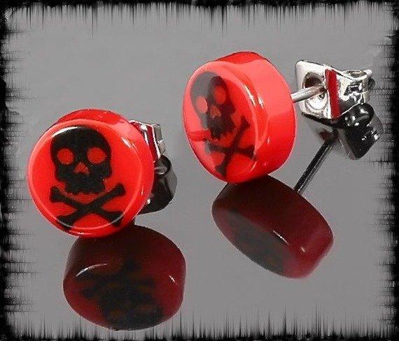 kolczyk BLACK SKULL czerwony 7mm
