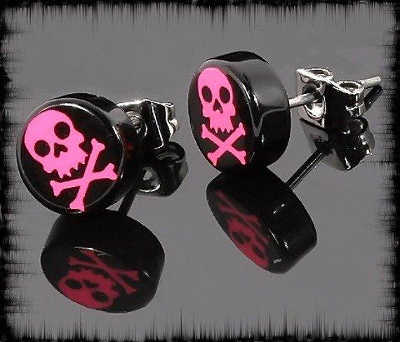 kolczyk PINK SKULL czarny 7mm