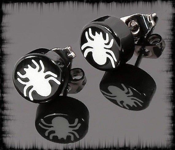 kolczyk WHITE SPIDER czarny