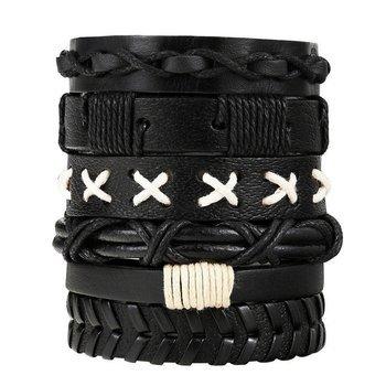 bransoletka BOHO BLACK, zestaw 6 bransoletek