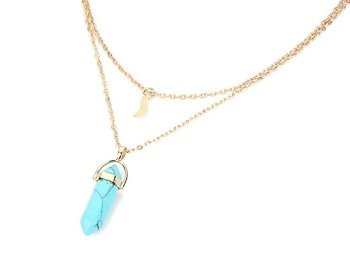 wisior GOLD CHOKER MOON GEM