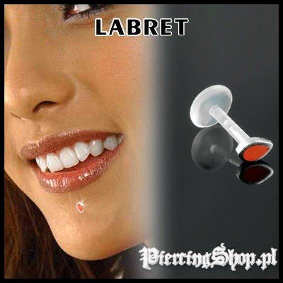KOLCZYK DO BRODY LABRET(bioplast) ŁEZKA różne kolory CZERWONY [LA-156]