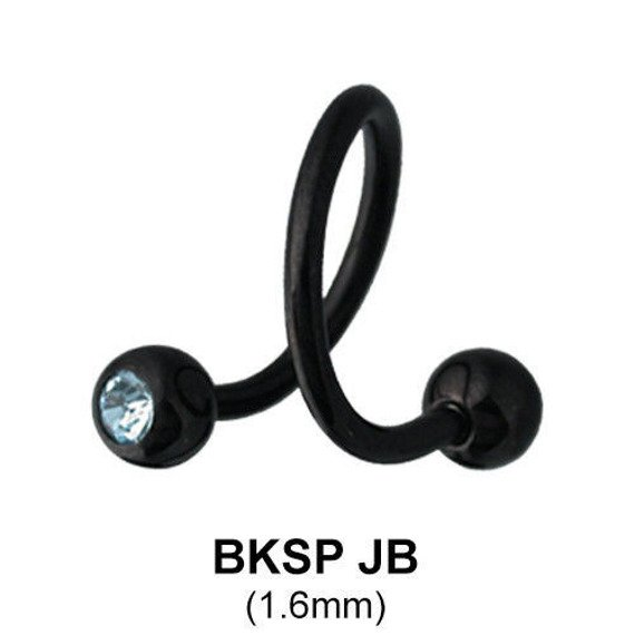 kolczyk do brwi/wargi  BODY SPIRAL BLACK LINE NIEBIESKIE OCZKA 1,6/5mm