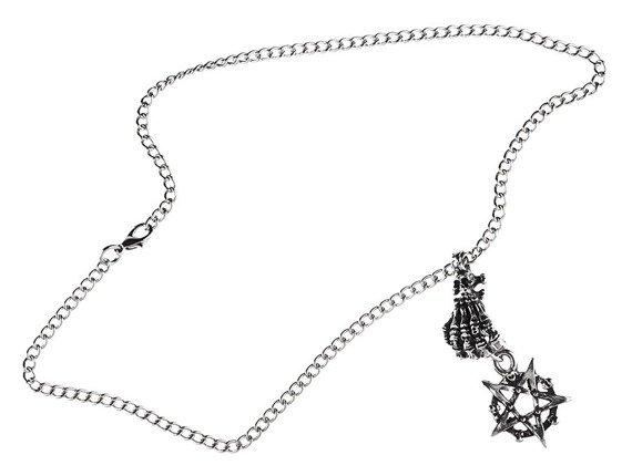 wisior + łańcuch SKELETON HAND & PENTAGRAM